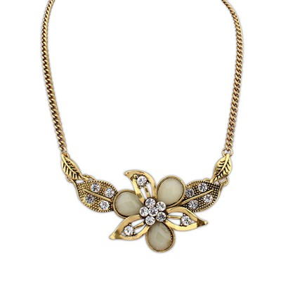 Monogram Beige Leaf&Flower Decorated Design Alloy Bib Necklaces
