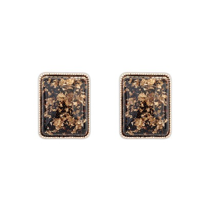 Trendy Black Square Shape Simple Design Alloy Stud Earrings