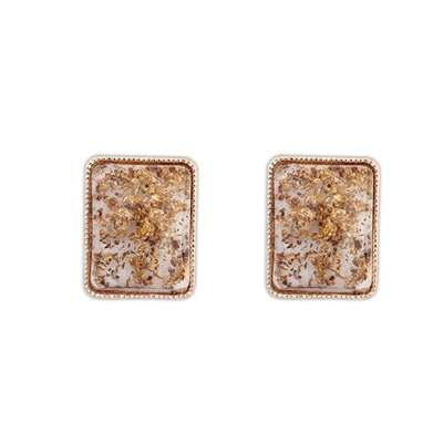 Christmas Beige Square Shape Simple Design Alloy Stud Earrings