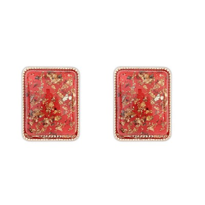 Slim Red Square Shape Simple Design Alloy Stud Earrings