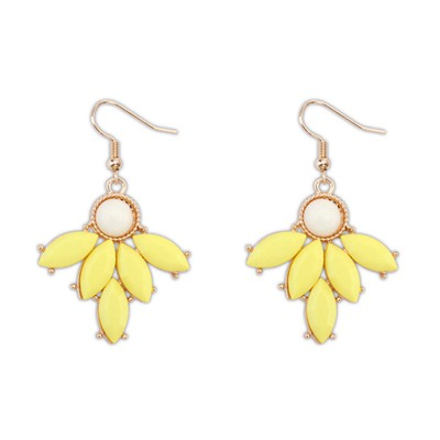 Marvelous Yellow Geometric Shape Pendant Design Alloy Korean Earrings