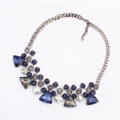 Casual Sapphire Triangle Gemstone Decorated Design Alloy Bib Necklaces