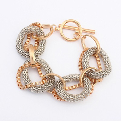 Pentacle Silver Color Double Color Circle Linking Design Alloy Korean Fashion Bracelet