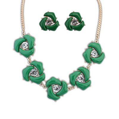 Locket Green Geometric Shape Decorated Design Alloy Jewelry Sets