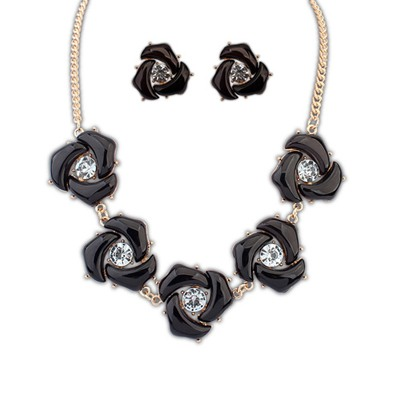 Rave Black Geometric Shape Decorated Design Alloy Jewelry Sets