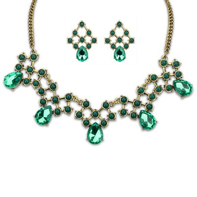Classic Green Water Drop Shape Gemstone Decorated Alloy Jewelry Sets