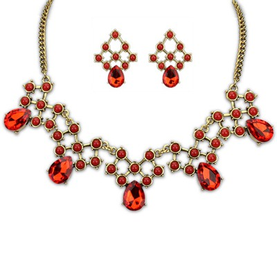 Reflective Red Water Drop Shape Gemstone Decorated Alloy Jewelry Sets