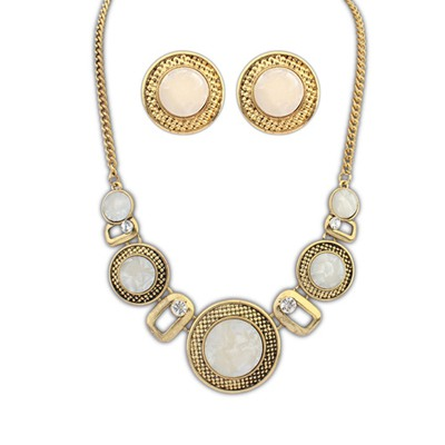 Beauteous Beige Round Wafer Decorated Design Alloy Jewelry Sets