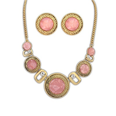 24K Pink Round Wafer Decorated Design Alloy Jewelry Sets
