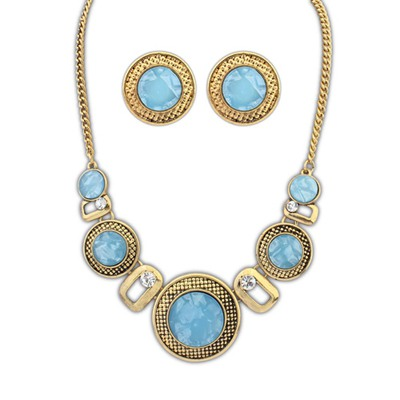 Pagan Light Blue Round Wafer Decorated Design Alloy Jewelry Sets