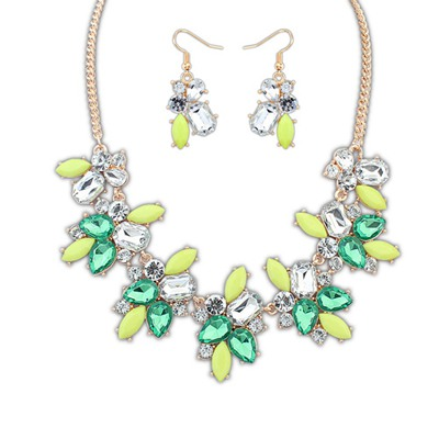 Tummy Green Geometric Shape Gemstone Decorated Alloy Jewelry Sets