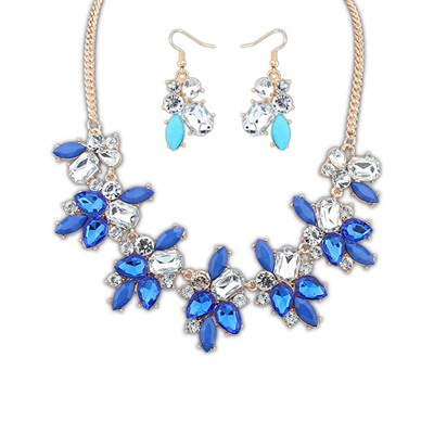 Mustard Sapphire Geometric Shape Gemstone Decorated Alloy Jewelry Sets
