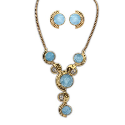 Timeless Light Blue Round Gemstone Decorated Design Alloy Jewelry Sets
