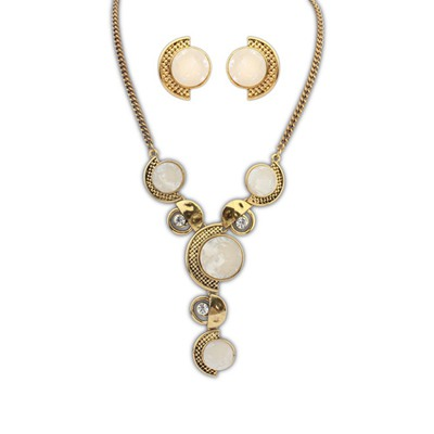 American Beige Round Gemstone Decorated Design Alloy Jewelry Sets