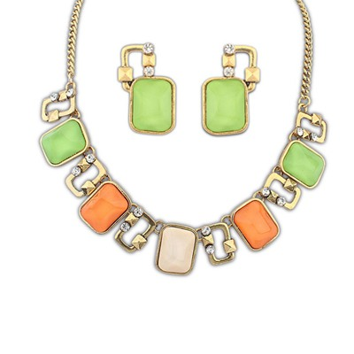 Wishbone Multicolor Square Gemstone Decorated Design Alloy Jewelry Sets