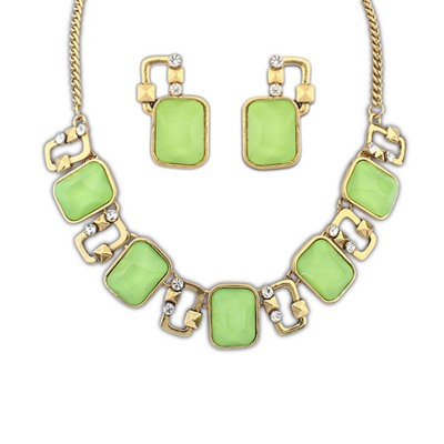 Stationary Green Square Gemstone Decorated Design Alloy Jewelry Sets