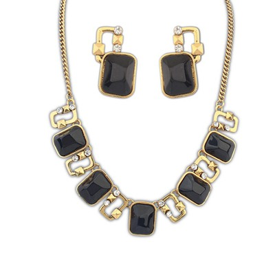 Wedding Black Square Gemstone Decorated Design Alloy Jewelry Sets