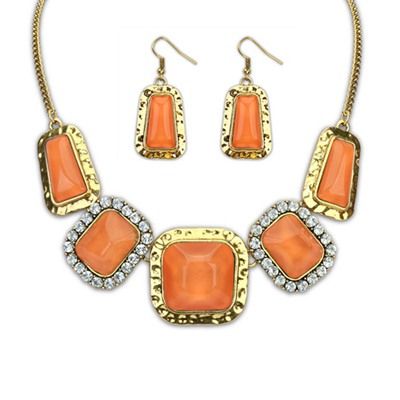 Chic Orange Square Gemstone Decorated Design Alloy Jewelry Sets