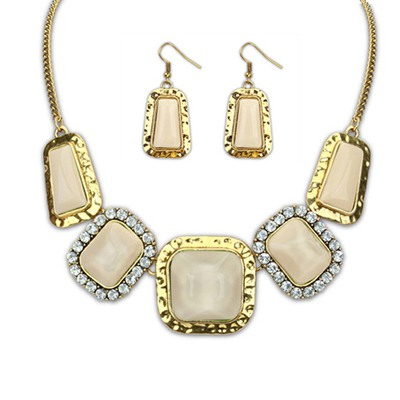 Peridot Beige Square Gemstone Decorated Design Alloy Jewelry Sets