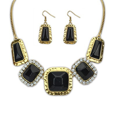 Legal Black Square Gemstone Decorated Design Alloy Jewelry Sets