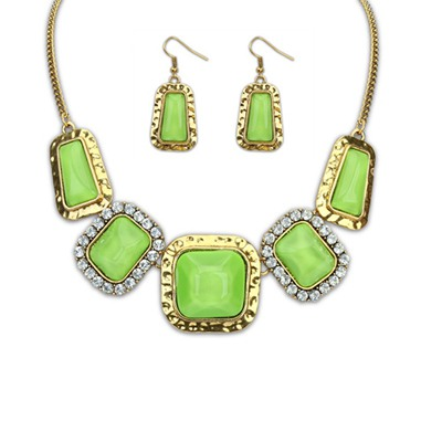Genuine Green Square Gemstone Decorated Design Alloy Jewelry Sets