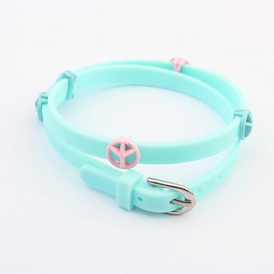 Cocktail Light Blue Peace Symbol Decorated Design Plastic Korean Fashion Bracelet