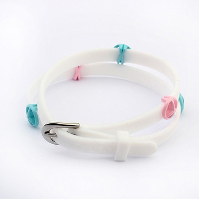 Shopping White Peace Symbol Decorated Design Plastic Korean Fashion Bracelet