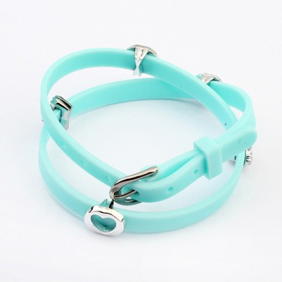 Eco Light Blue Hollow Out Heart Decorated Design Plastic Korean Fashion Bracelet