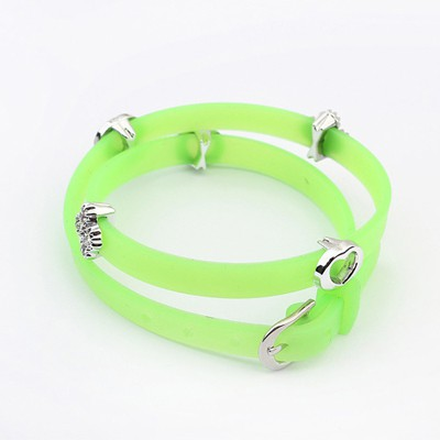 Celtic Fluorescent Green Hollow Out Heart Decorated Design Plastic Korean Fashion Bracelet