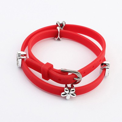 Tall Red Five Petal Flower Decorated Design Plastic Korean Fashion Bracelet