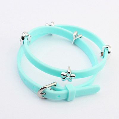 Display Light Blue Five Petal Flower Decorated Design Plastic Korean Fashion Bracelet