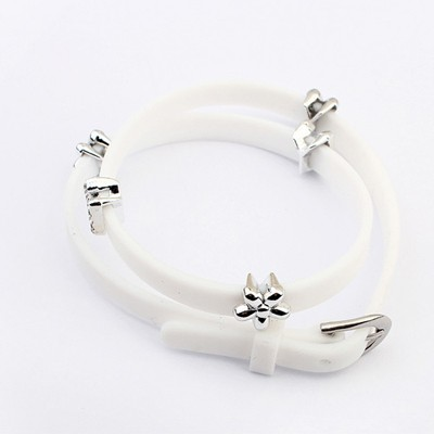 Mexican White Five Petal Flower Decorated Design Plastic Korean Fashion Bracelet