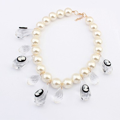 Baroque White Transparent Water Drop Decorated Alloy Beaded Necklaces