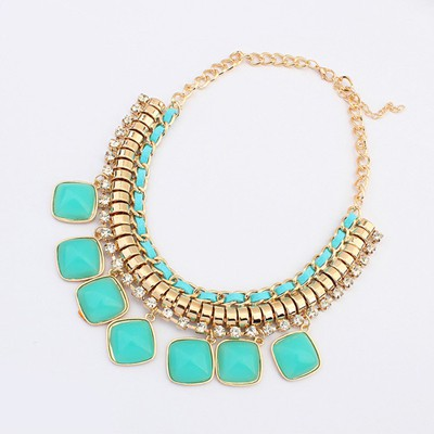 Posh Light Blue Square Shape Pendant Design Alloy Bib Necklaces