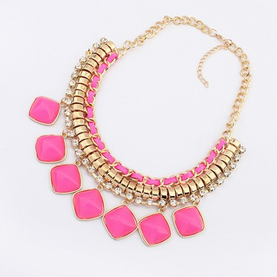 Guardian Plum Red Square Shape Pendant Design Alloy Bib Necklaces