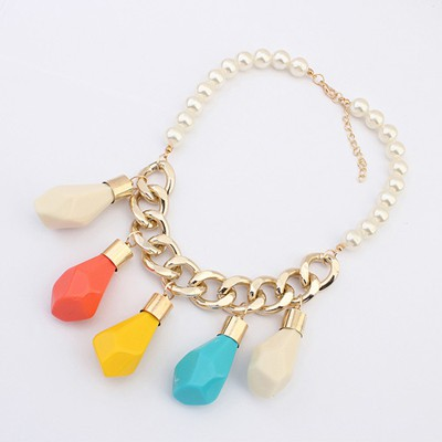 Plaid Multicolor Irregular Water Drop Pendant Design Alloy Chains