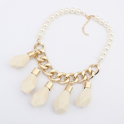 Stainless Beige Irregular Water Drop Pendant Design Alloy Chains