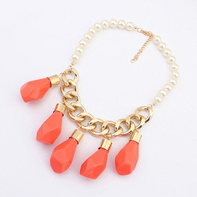 Upper Orange Irregular Water Drop Pendant Design Alloy Chains