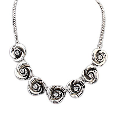 Current Antique Silver Vintage Rose Flower Decorated Alloy Bib Necklaces