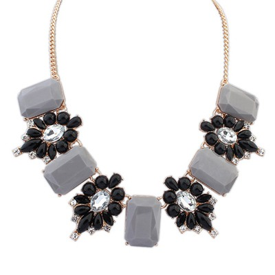 Nice Gray Square Shape Gemstone Decorated Design Alloy Bib Necklaces