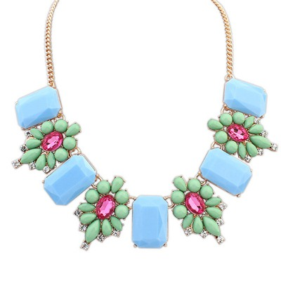 Latest Green Square Shape Gemstone Decorated Design Alloy Bib Necklaces