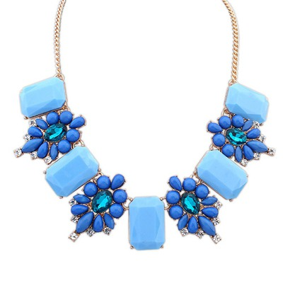 Puritan Sapphire Square Shape Gemstone Decorated Design Alloy Bib Necklaces