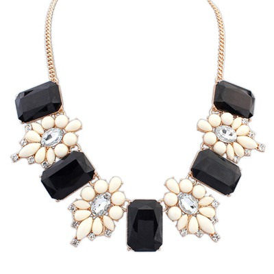 Bespoke Black Square Shape Gemstone Decorated Design Alloy Bib Necklaces