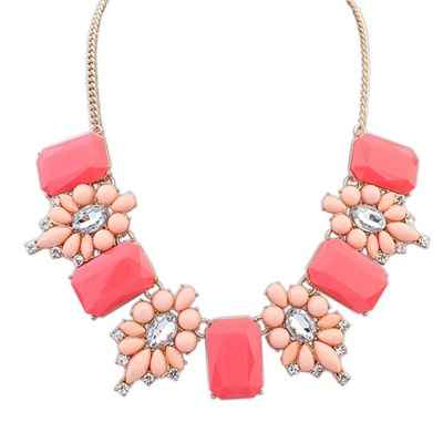Hunting Peach Red Square Shape Gemstone Decorated Design Alloy Bib Necklaces