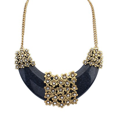 Vibrating Black Crescent Shape Pendant Design Alloy Bib Necklaces
