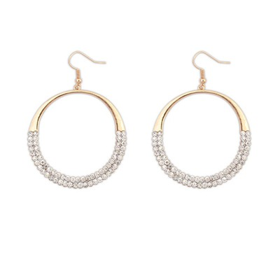 Memorable White Round Shape With Diamond Decorated Alloy Korean Earrings