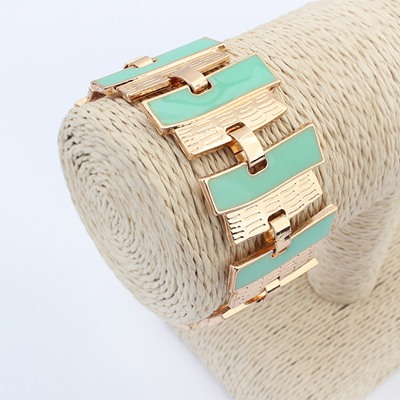 Garnet Light Green Geometric Shape Matching Design Alloy Korean Fashion Bracelet