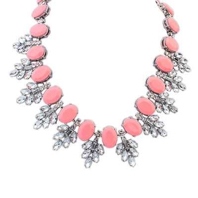 Womens Plum Red Oval Shape Gemstone Decorated Design Alloy Bib Necklaces
