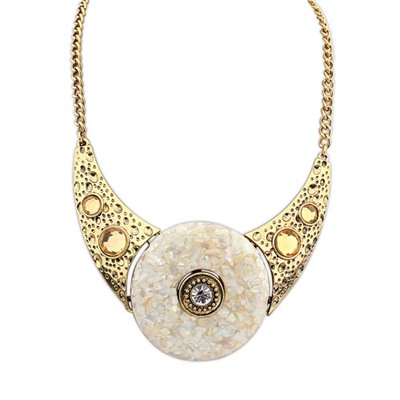 24K Beige Round Shape Gemstone Decorated Design Alloy Bib Necklaces