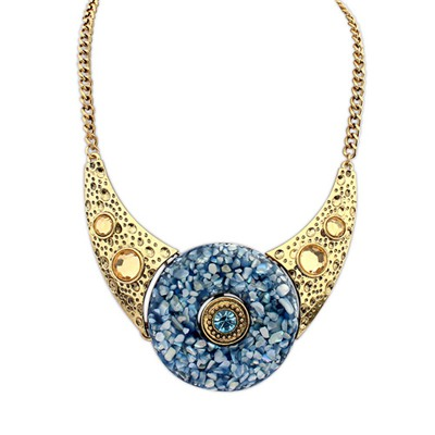 Named Dark Blue Round Shape Gemstone Decorated Design Alloy Bib Necklaces